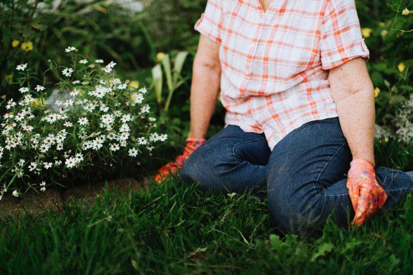 Pessoa assentada na grama cuidando do jardim